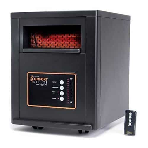 AirNmore Comfort Deluxe with Copper PTC, Infrared Space Heater with Remote