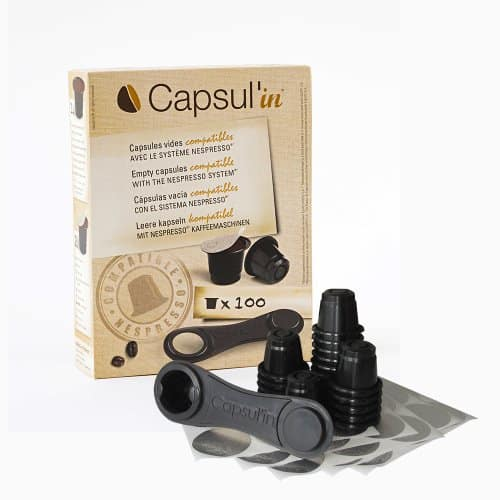 Capsul'in MYCNCCB100 100 Piece Fillable Espresso Tea and Coffee Compatible Pod, Black