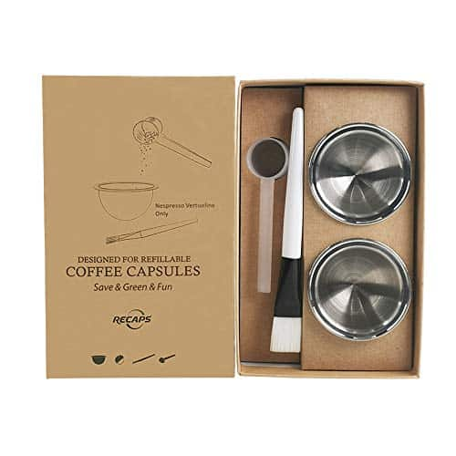 RECAPS Stainless Steel Refillable Filter Reusable Pods 230ml Compatible with Nespresso Vertuoline Coffee Machines But Not All
